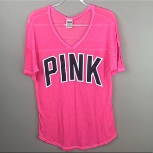 PINK Victoria's Secret Bright Pink Logo V-Neck Top
